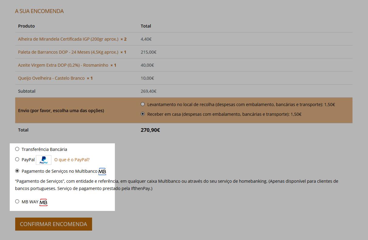 Ecrã final método de pagamento